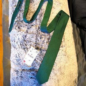 🆕 Zara MAN Necktie Green Textured